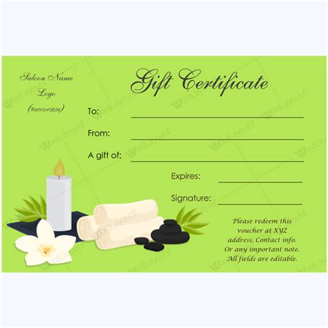 spa day gift card template gift certificate 24 word layouts