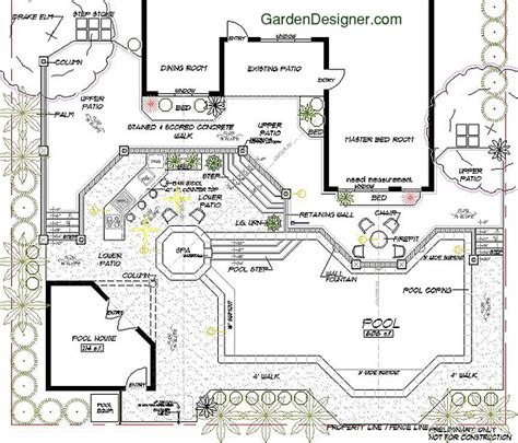 Backyard Landscape Design Ideas pool with retaining wall and spa garden landscape plan