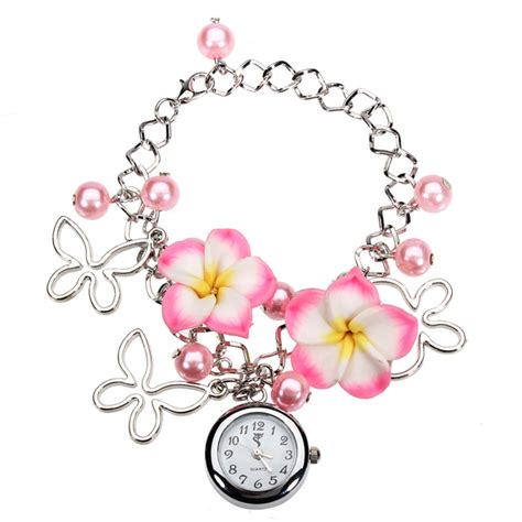 Fashion Bangle Bracelet Beaded Quartz Wrist fashion butterfly flower bead chain bracelet quartz wrist alex nld
