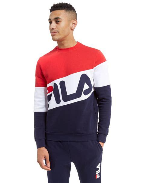 Hoodie Jumper Sweater Zipper Fila Hitam lyst fila isaac crew sweatshirt in blue for
