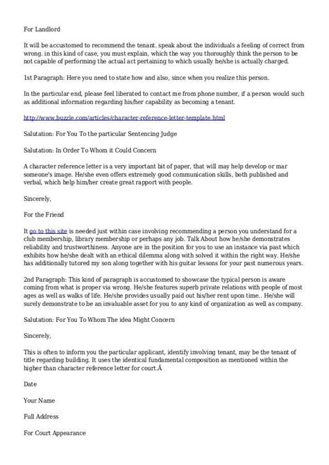 landlord reference letter template character reference letter for landlord 1347