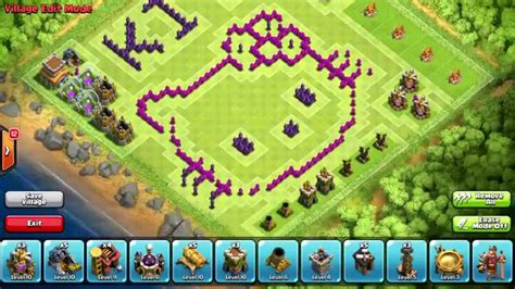 layout coc hello kitty clash of clans th8 funny troll base hello kitty not for