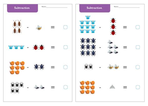 new year worksheet eyfs minibeast subtraction worksheets free early years