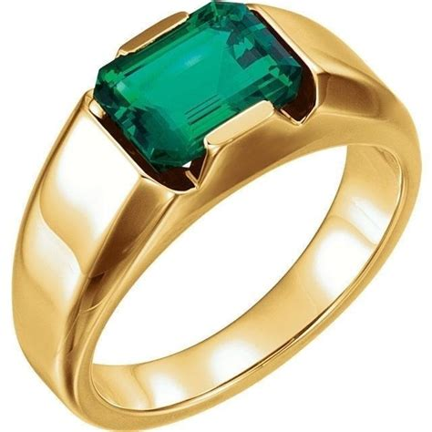 emerald chatham 174 created gem solitaire mens ring 14k