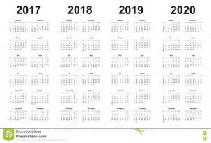 3 Year Calendar 2018 To 2020 Calendar 2017 2018 2019 2020 Simple Design Sundays