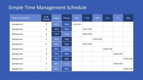 slidemodel simple time management powerpoint table
