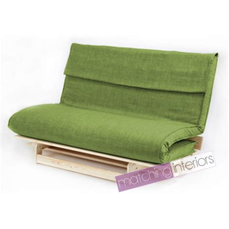 Lime Double 2 Seater Fabric Complete Futon Wood Base 3 Fold Sofa Bed Mattress