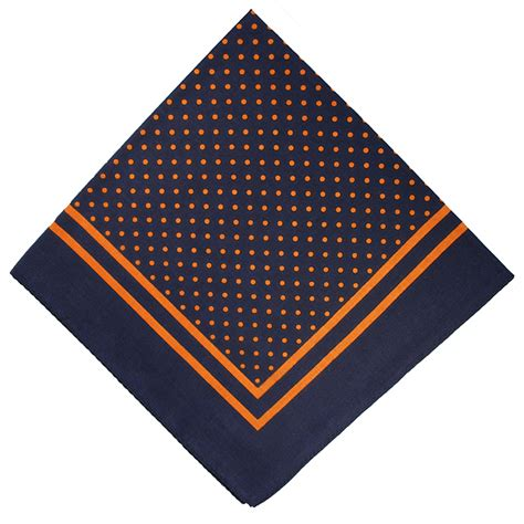 lucky sunday rawis square navy navy blue orange spot handkerchief square extras