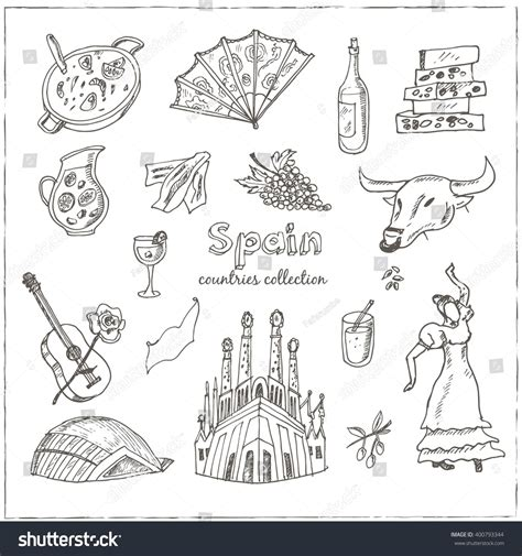 doodle barcelona doodle spain symbols set stock vector 400793344