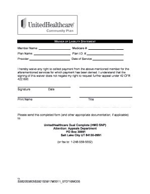 fillable online waiver of liability statement community