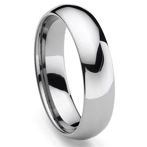 classical tungsten carbide s plain dome wedding band