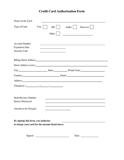 Credit Card Authorization Template Excel by 6 Credit Authorization Forms Word Templates