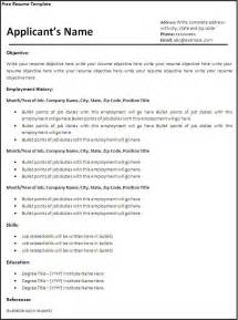 free resume templates word excel pdf