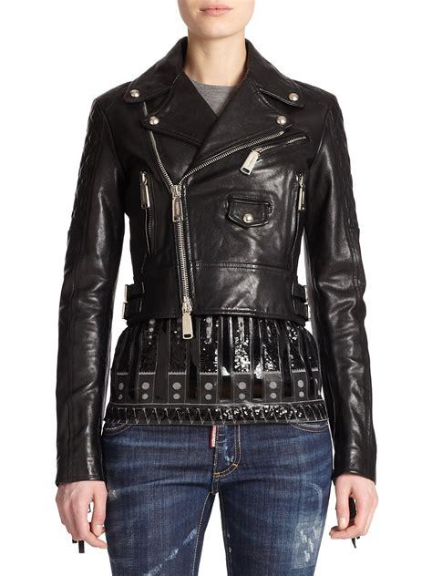 black leather jacket with fringe dsquared 178 fringe leather moto jacket in black lyst