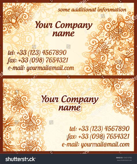mehndi business cards template mehndi style vintage vector business cards stock vector