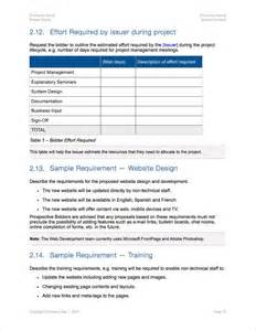 request for bid template rfp template rfp template construction sle rfp