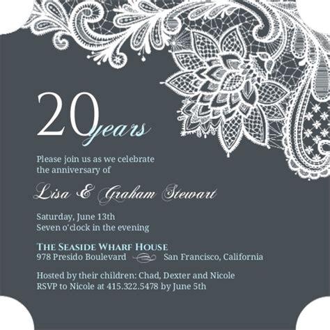 20th wedding anniversary invitation card blue and white lace 20th anniversary invitation