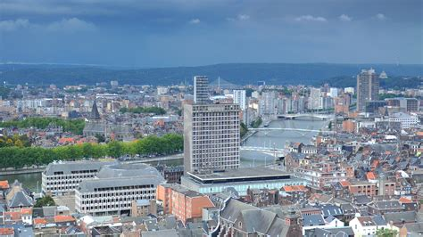 liege belgium ultra hd 4k time lapse stock footage aerial