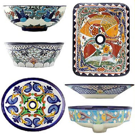 mexican bathroom sinks rectangular talavera vessel sink mexican