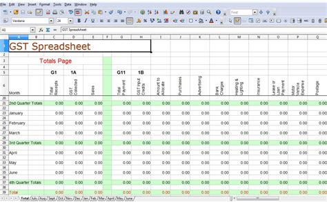 Spreadsheets For Business by Simple Gst Spreadsheet Australia Business Activity