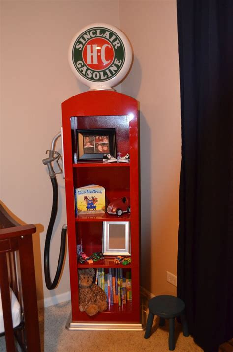 custom  gas pump book shelf  man cave