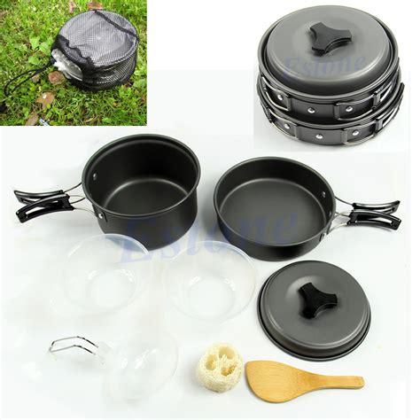 8pcs outdoor cing hiking cookware backpacking cooking picnic bowl pot pan set ebay