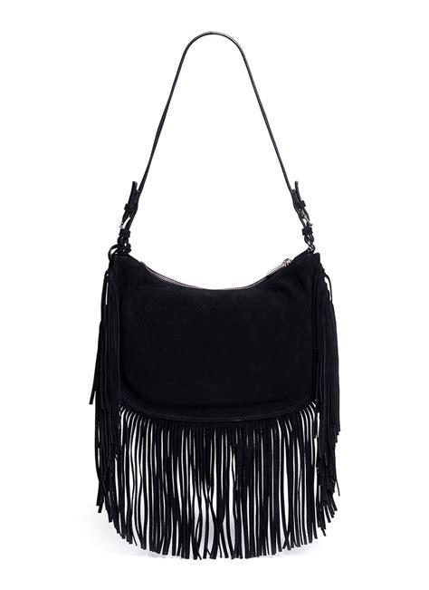 Fringe Bag lyst michael kors billy medium suede fringe shoulder bag in black