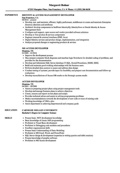 Create Resume Database Access by Access Developer Resume Sles Velvet
