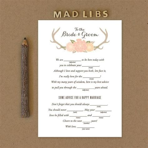 mad lib wedding invitations wedding mad libs for engagement bridal shower and