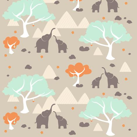 stitched together: playful elephants fabric littleknids
