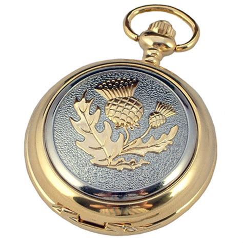 gold plated pocket with thistle design tartan trader