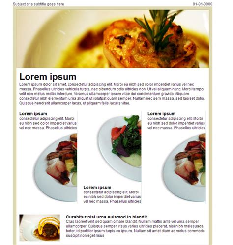 restaurant newsletter template inspirational free ecommerce newsletter templates