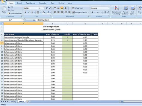 cost of goods sold template 4 cost of goods sold templates excel xlts