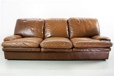 Leather Sofa Lounge Mid Century Modern Brown Leather 3 Seater Lounge Sofa For Sale At Pamono