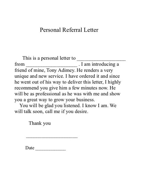 10 Sle Referral Letters Sle Letters Word Referral Email Template