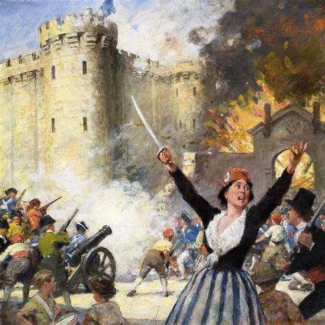 Newspaper Shower Curtain Storming The Bastille Drawing By English