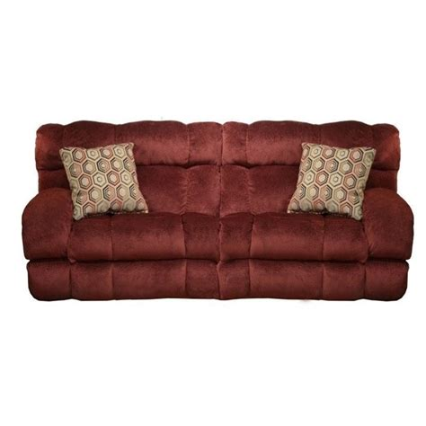 catnapper siesta lay flat reclining fabric sofa in wine