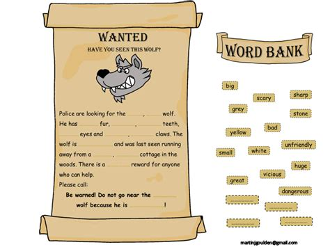 printable wanted poster for the big bad wolf little red riding hood adjective wanted poster editable
