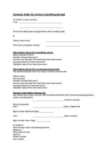 consent letter for minors travelling abroad netherlands to whom it may concern i