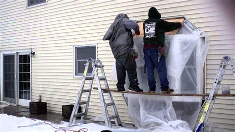 installing  wood bay window timelapse renewal