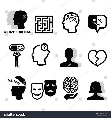 Child Health Psychology schizophrenia mental health psychology vector icons 스톡 벡터