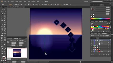 illustrator tutorial night scene illustrator create a sunset scene using the blend tool in illustrator