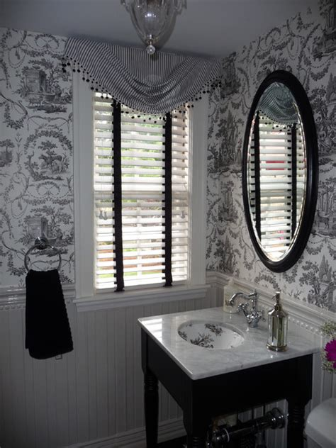 powder room  black  white toile wallpaper