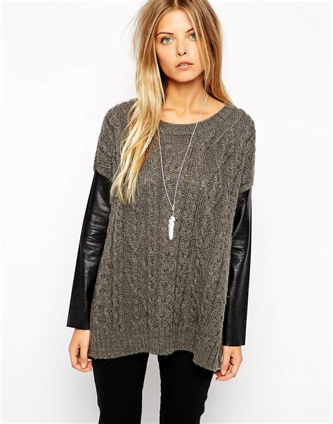 may sweater noisy may noisy may sweater with faux leather sleeves at