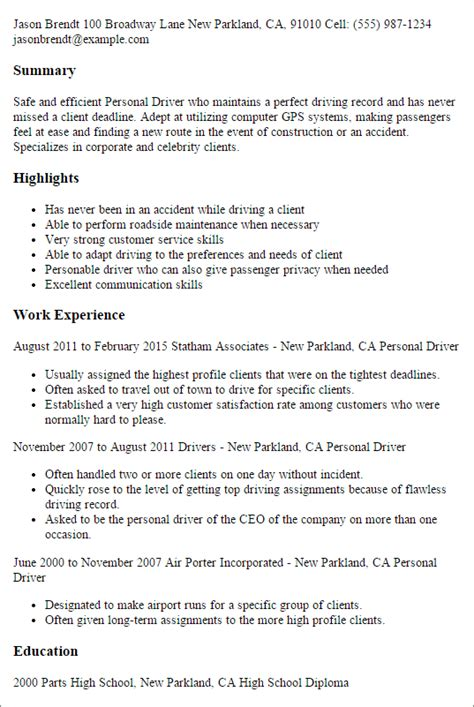 Personal Driver Cover Letter by Professional Personal Driver Templates To Showcase Your Talent Myperfectresume