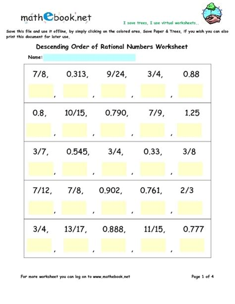 Ordering Rational Numbers Worksheet by All Worksheets 187 Arrange Numbers In Ascending Order