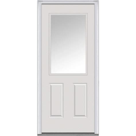 30 Exterior Door With Window Mmi Door 30 In X 80 In Blinds Left 1 2 Lite Classic Primed Steel Prehung Front