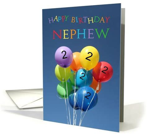 Nephew 2nd Birthday Card 2nd Birthday Card For Nephew Colored Balloons Card