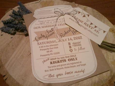 bakers twine wedding invitations jar wedding invitations with rvsp luggage tag and bakers twine bow and kraft envelope