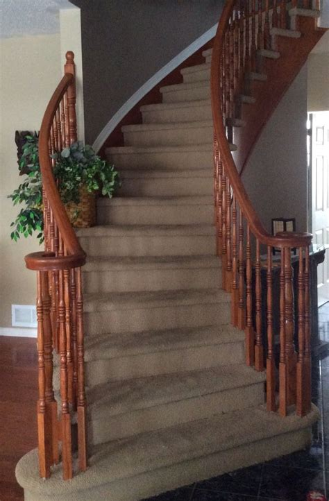 Hometalk   Replace Stained Carpet on Curved Staircase